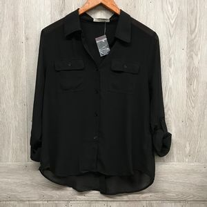 Semi Sheer Black Double Pocket Polyester Top A5